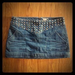 Studded Mini Denim Skirt